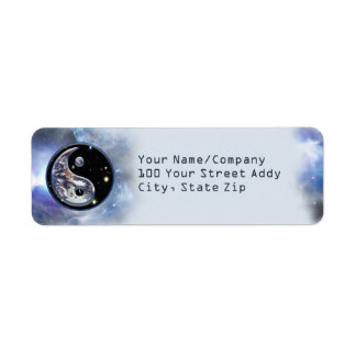 Cosmic Blue Yin Yang Return Address Label