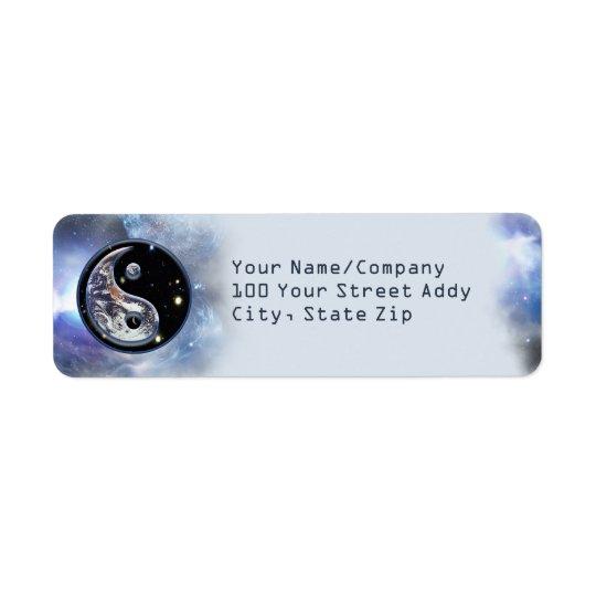 Cosmic Blue Yin Yang Return Address Label