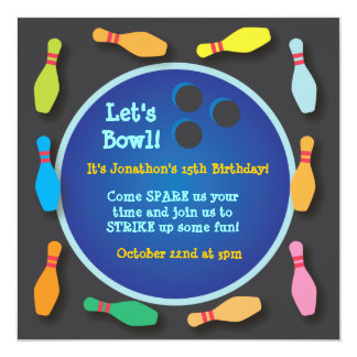 Cosmic Bowling Party Invitation