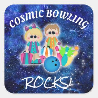 Cosmic Bowling Rocks Kid's Party Sticker 2