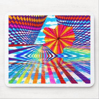 Cosmic Bright Geometric Kaleidoscope Rainbow Art Mouse Pad