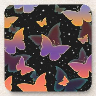 Cosmic Butterflies Pattern Drink Coaster