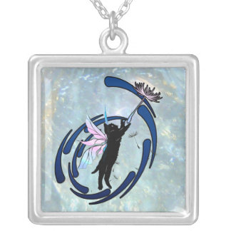 Cosmic Cat Dandelion Silver Plated Necklace