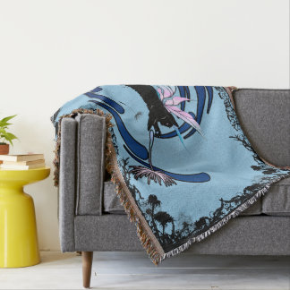 Cosmic Cat Dandelion Throw Blanket