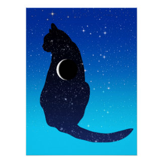 Cosmic Cat in Stars and Crescent Moon Pattern Poster