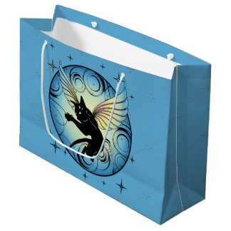 Cosmic Cat Moon and Stars Large Gift Bag