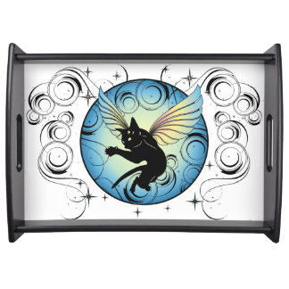 Cosmic Cat Moon and Stars Serving Tray