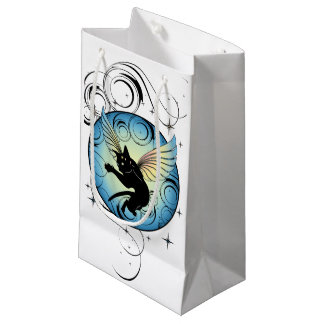 Cosmic Cat Moon and Stars Small Gift Bag