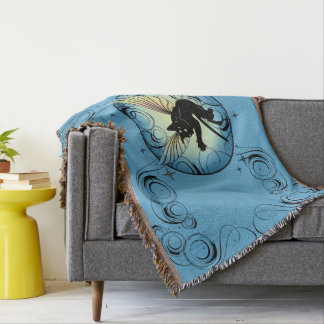 Cosmic Cat Moon and Stars Throw Blanket