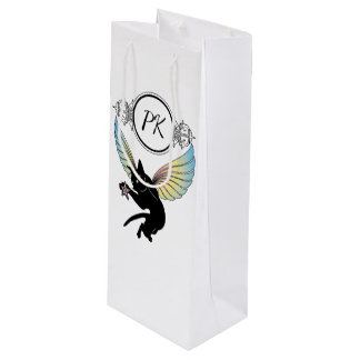 Cosmic Cat Moon and Stars Wine Gift Bag