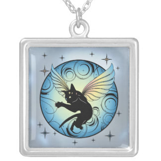 Cosmic Cat Moon Silver Plated Necklace