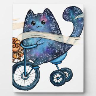 cosmic cat on bike plaque