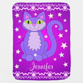 Cosmic Cat Purple Personalized Name Baby Blanket