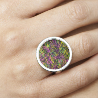 Cosmic Chaos - Colorful Swirls on Black Ring
