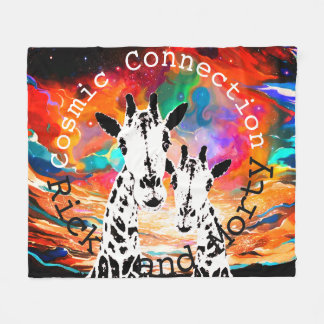Cosmic Connection Giraffes Tie  Dye Blanket