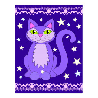 Cosmic Design Cat Postcard Vertical Midnight Blue