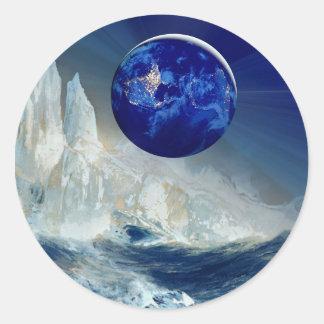 Cosmic Earth at Night and Thomas Moran Iceberg Classic Round Sticker