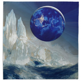 Cosmic Earth at Night and Thomas Moran Iceberg Napkin