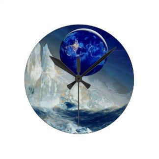 Cosmic Earth at Night and Thomas Moran Iceberg Round Clock
