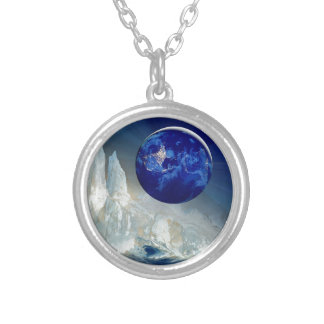 Cosmic Earth at Night and Thomas Moran Iceberg Silver Plated Necklace