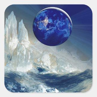 Cosmic Earth at Night and Thomas Moran Iceberg Square Sticker