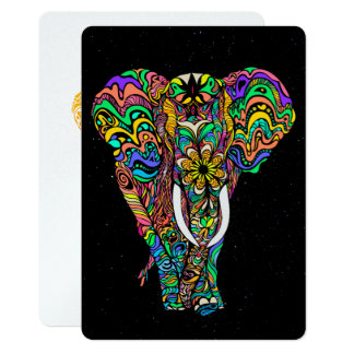 Cosmic elephant #african love by #Bizzartino Card
