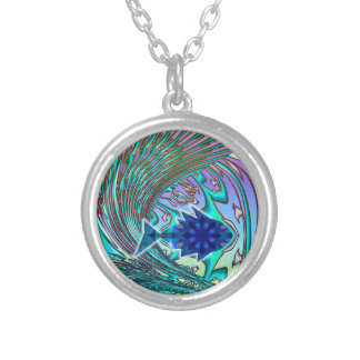 cosmic Fish surfing a wave Silver Plated Necklace