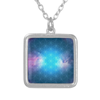 Cosmic Flower of Life Silver Plated Necklace