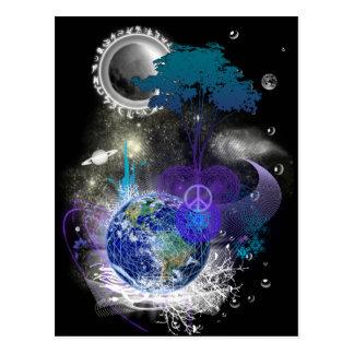 Cosmic geometric peace postcard