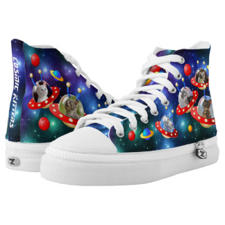 Cosmic Kittens in Alien Spaceship UFO Sci-fi Scene High Tops
