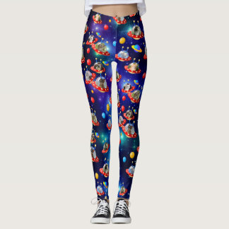 Cosmic Kittens in Alien Spaceship UFO Sci-fi Scene Leggings