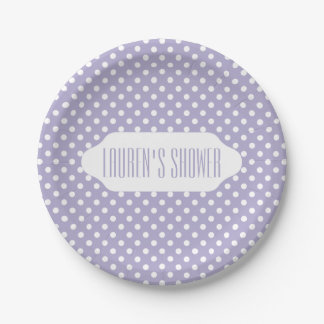 Cosmic lavender polka dots 7 inch paper plate