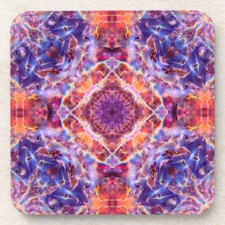 Cosmic Lightning Cross Mandala Drink Coaster