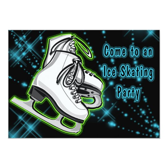 Cosmic Neon Ice Skates Party Card