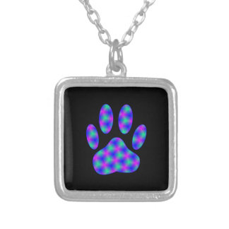 Cosmic Paw Print Silver Plated Necklace