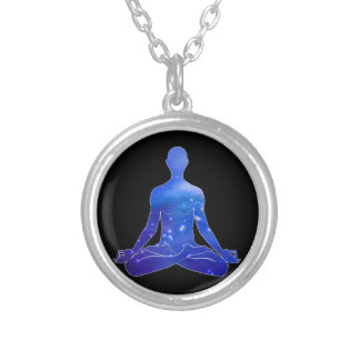 Cosmic Peace Meditation (blue) Silver Plated Necklace
