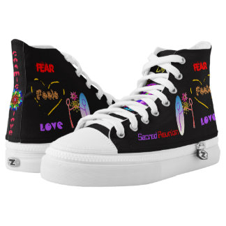 """""""Cosmic Reunion: Fear Feels Love """" High Top Shoes Printed Shoes"""