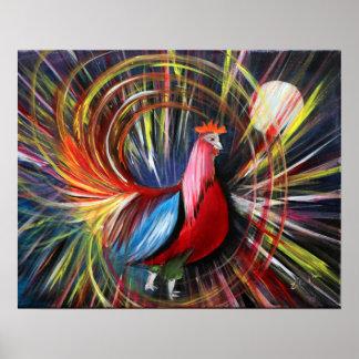 Cosmic Rooster Painting Print By Luke Taft