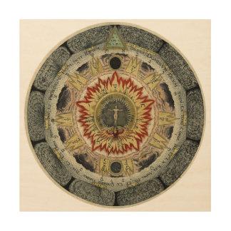 Cosmic Rose Mandala Wood Print