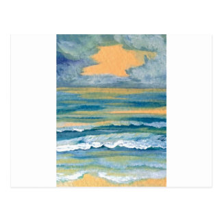 Cosmic Sea Yellow Gold and Blue Sunset Ocean Post Card
