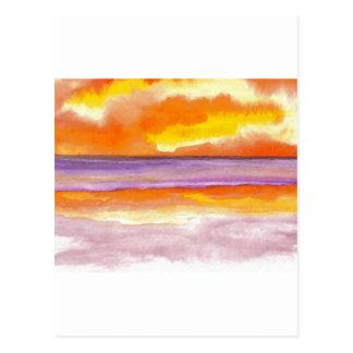 Cosmic Seaside Sunset Sunrise Beach Painting Art Post Cards