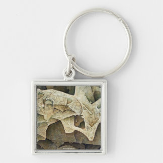 Cosmic Sensation Silver-Colored Square Key Ring