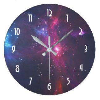 Cosmic Space Stars and Nebula Large Clock