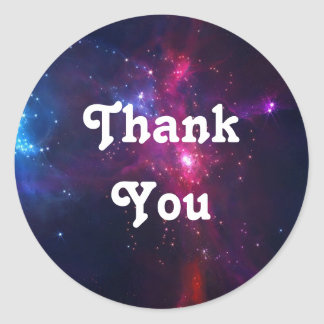 Cosmic Space Stars and Nebula Thank You Classic Round Sticker