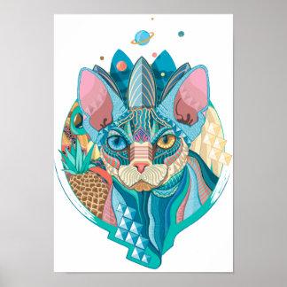 Cosmic Sphynx Cat Poster