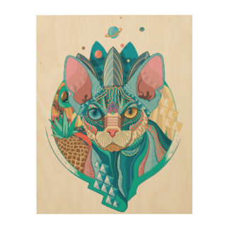 Cosmic Sphynx Cat Wood Canvases