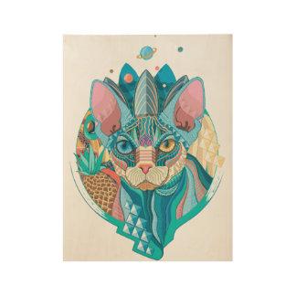 Cosmic Sphynx Cat Wood Poster