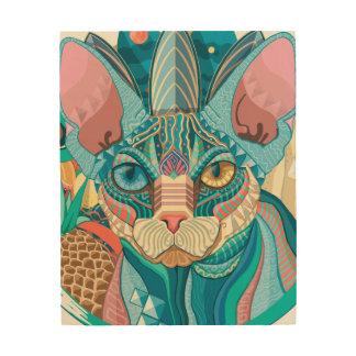 Cosmic Sphynx Cat Wood Wall Art