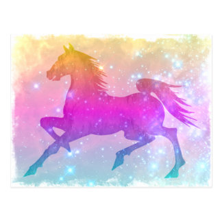 Cosmic Steed Colorful Horse Stars Post Card