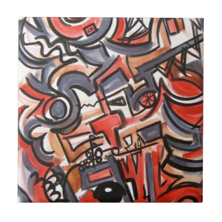 Cosmic Tension - Abstract Art Small Square Tile